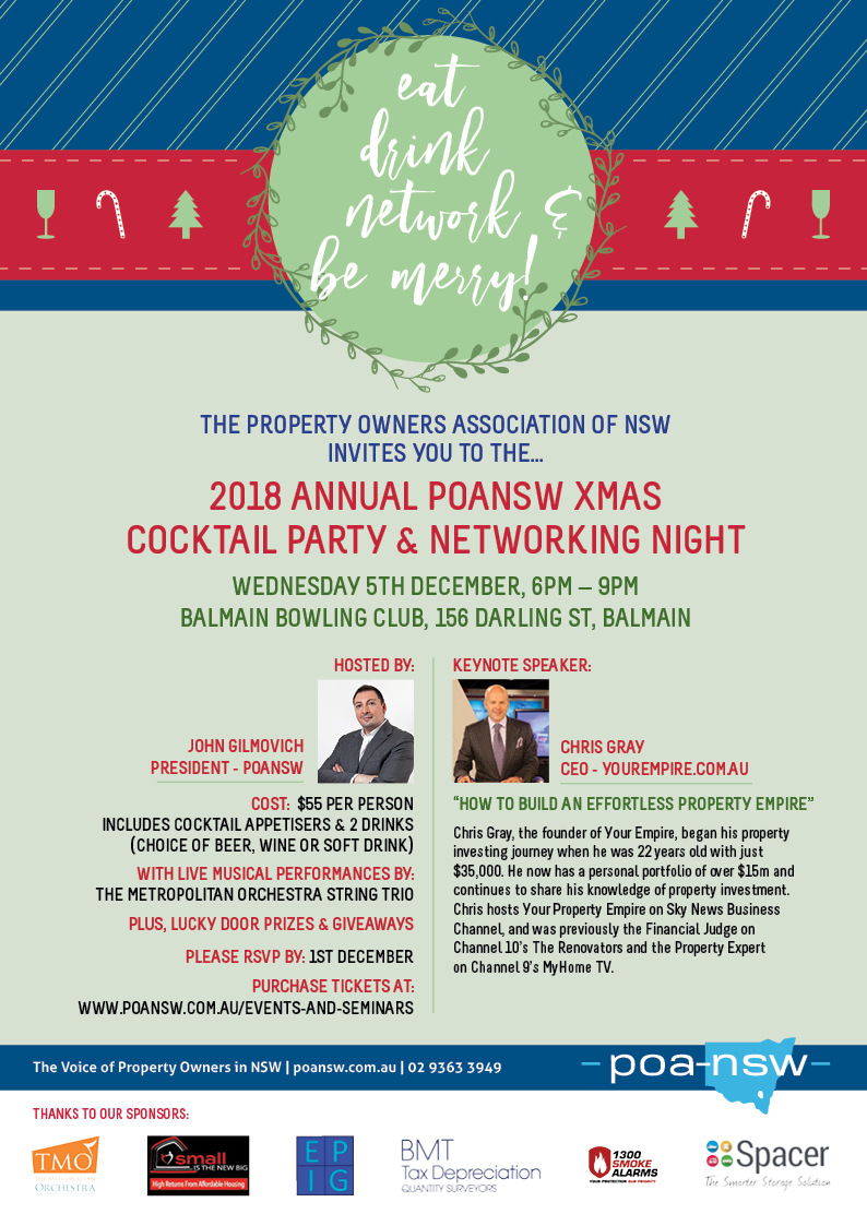 2018 ANNUAL POANSW XMAS COCKTAIL PARTY & NETWORKING NIGHT @ Balmain Bowling Club