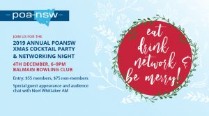 JOIN US FOR THE 2019 ANNUAL POANSW XMAS COCKTAIL PARTY & NETWORKING NIGHT @ Balmain BOWLING Club