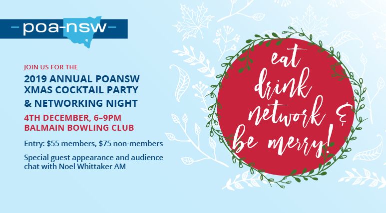 Join us for the 2019 Annual POANSW Christmas Cocktail Function & Networking Night @ Balmain BOWLING Club